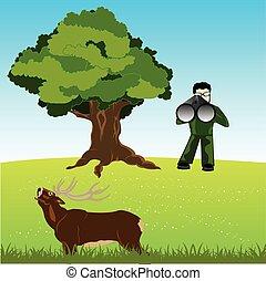 Huntsman on deer