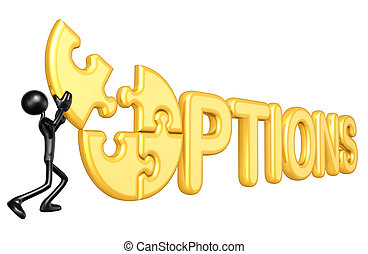 Options Puzzle - A Concept And Presentation Illustration In...