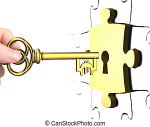 Hand with Euro sign key open lock puzzle piece