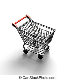 3D rendering shopping cart top view