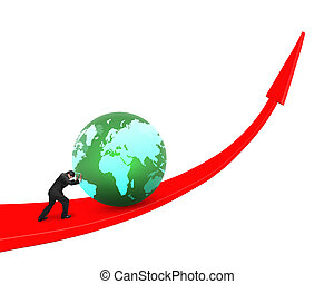 Businessman pushing globe upward on red trend line, isolated...