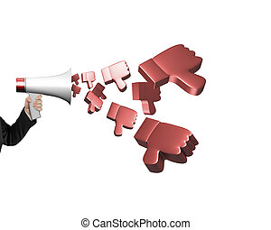 Hand hold megaphone with 3D thumbs down spraying out - Hand...