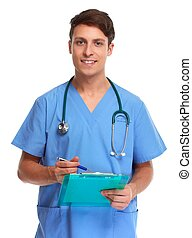 Doctor nurse. - Doctor pharmacist man isolated on white...