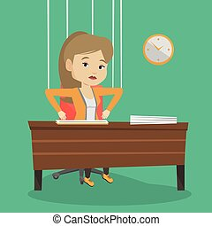 Business woman marionette on ropes working. - Caucasian...