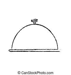Isolated cloche design - Cloche icon. Plate kitchen utensil...