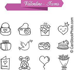 Valentine element of icons with hand draw