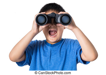 Asian Chinese little boy holding binoculars with mouth open