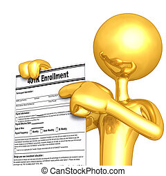 401k Enrollment - A Concept And Presentation Illustration In...