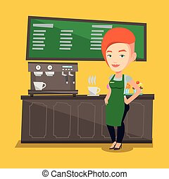 Barista standing near coffee machine.