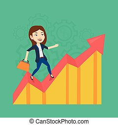 Happy business woman standing on profit chart. - Caucasian...
