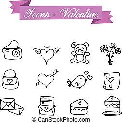 Hand draw icon element valentine