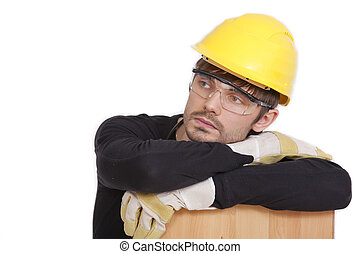 tired construction worker isolated on white background