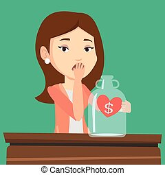 Bankrupt woman looking at empty money box - Young worried...