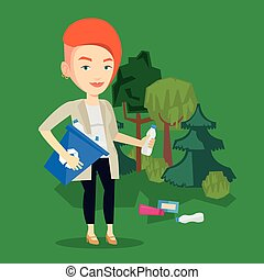 Woman collecting garbage in forest.