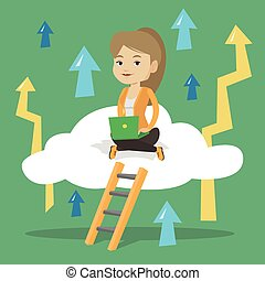 Business woman sitting on cloud with laptop. - Caucasian...