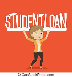 Woman holding sign of student loan. - Caucasian woman...