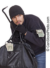 bank robber with crowbar, bag and money - isolated on white...