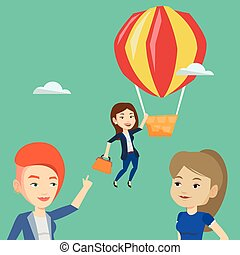 Business woman hanging on balloon. - Two young caucasian...