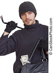 thief with money bag and crowbar - isolated on white...