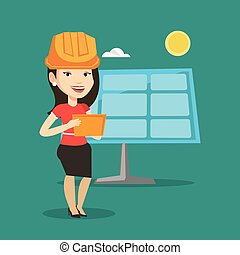 Female worker of solar power plant. - Engineer working on...