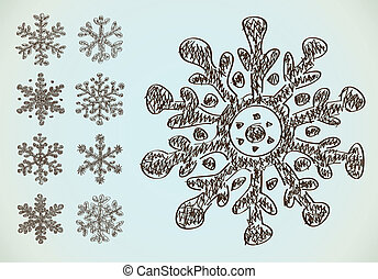 Pencil drawing snowflakes - Pencil drawing vector...