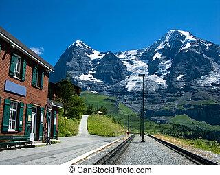 wengernalp, tracciato, stazione, ferrovia,  Eiger