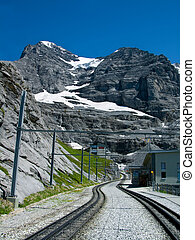 The Jungfraubahn railway to Eiger mountain, Switzerland,...