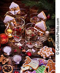 Christmas still life of four cups tea. - Christmas still...