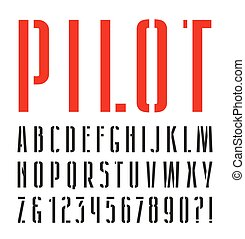 Narrow sanserif stencil-plate font. Isolated on white...