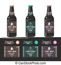 Set of templates label for craft beer. Print on a black or...