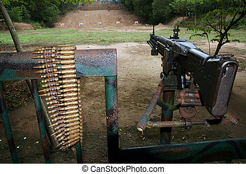 M60 machinegun on the Cu Chi shooting range. Vietnam.