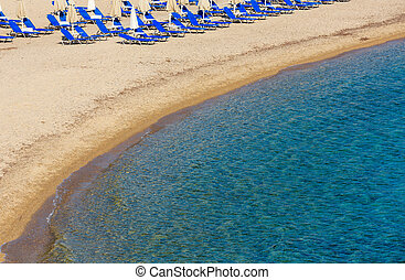 Summer morning Platanitsi beach (Greece). - Summer morning...