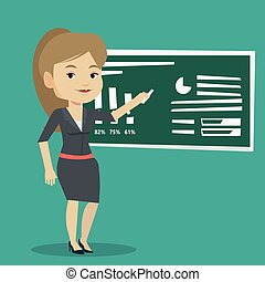 Woman writing on a chalkboard vector illustration. - Young...