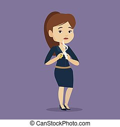 Young woman quitting smoking vector illustration. -...