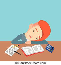 Female student sleeping at the desk with book. - Fatigued...