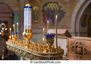 candles and lamp close-up. Interior Of Orthodox Church In...