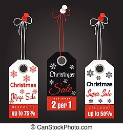 Christmas sale tags with snowflakes - Christmas sale tags...