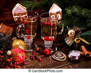 Beautiful Christmas still-life from two glasses of hot...