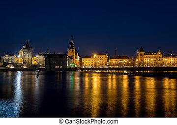 Night photo of Prague Old Town (Smetanovo Nabrezi) and...
