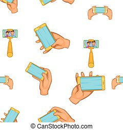 Photo on smartphone pattern, cartoon style