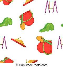 Swings for kid pattern, cartoon style