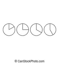Four circle pie diagrams icon, outline style - Four circle...