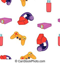Electronic equipment pattern, cartoon style - Electronic...