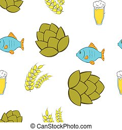Beer pattern, cartoon style