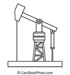 Oil pumpjack icon, outline style - Oil pumpjack icon....