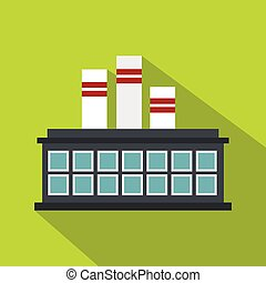Refinery plant icon, flat style - Refinery plant icon. Flat...