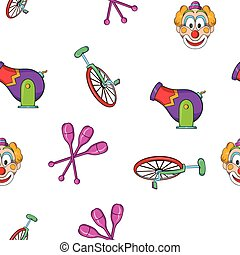 Circus performance pattern, cartoon style - Circus...