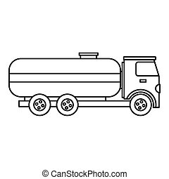Fuel tanker truck icon, outline style - Fuel tanker truck...