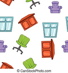 Home furniture pattern, cartoon style