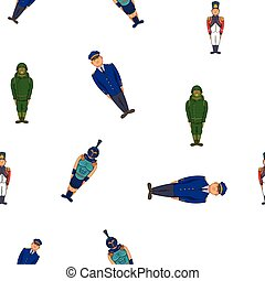 Types of soldiers pattern, cartoon style - Types of soldiers...